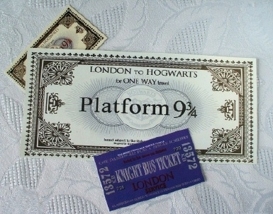 Harry Potter's Platform 9 ¾ Hogwarts Express Train Ticket.