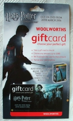 Ultra Rare Woolworths Harry Potter and Goblet of Fire Gift Card.